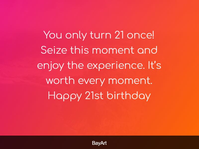 21st birthday message