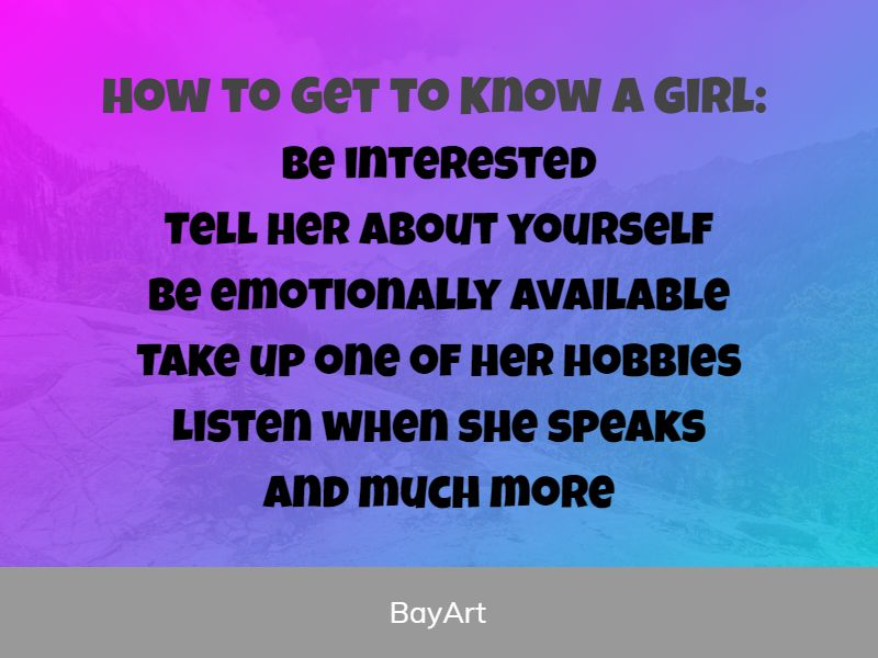 how to get to know a girl